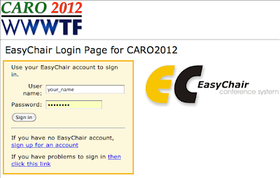 CARO 2012 EasyChair login page